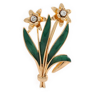 Crystal Daffodil With Green Enamel Leaves Floral Brooch In Gold Plating - 60mm L - main view