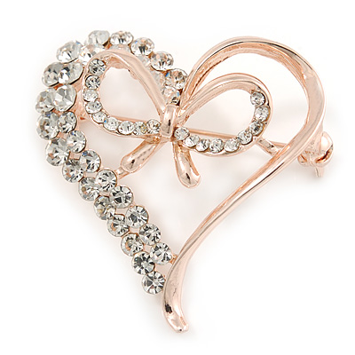 Clear Crystal Open Heart with Bow Brooch In Gold Plated Metal - 40mm - main view