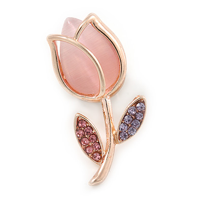 Tiny Light Pink Tulip Pin Brooch In Gold Tone Metal - 30mm