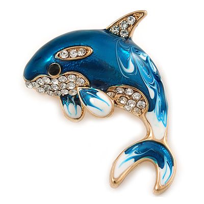Teal Blue Enamel Crystal Shark Brooch In Gold Tone Metal - 35mm