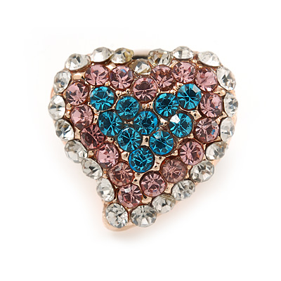 Tiny Multicoloured Heart Pin Brooch In Gold Tone Metal - 15mm - main view