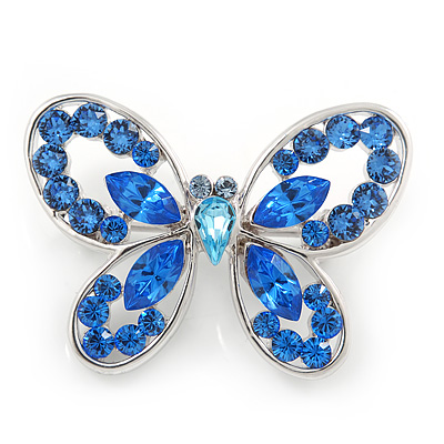Small Blue Crystal Butterfly Brooch In Rhodium Plated Metal - 35mm L - main view