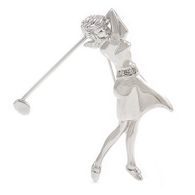Polished Rhodium Plated Lady Golfer Brooch - 55mm L
