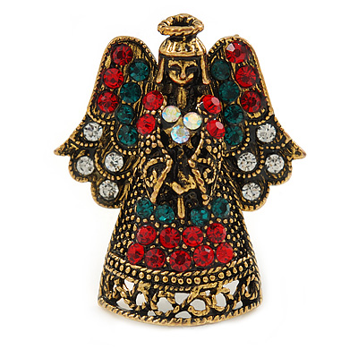 Crystal Beautiful Guardian Angel Brooch Pin In Aged Gold Tone Xmas Christmas - 32mm L - main view