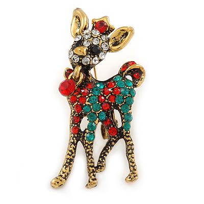 a00df9d6842 Clear/ Red/ Green Crystal Christmas Reindeer Brooch In Aged Gold Tone Metal  - 40mm L [B04215]