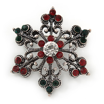 327bdaa302c Small Vintage Inspired Red/ Green/ Clear Crystal Christmas Snowflake Brooch  In Aged Silver Tone Metal - 35mm D [B04222]