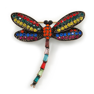 Vintage Inspired Multicoloured Crystal Dragonfly Brooch In Antique Gold Tone - 45mm Tall