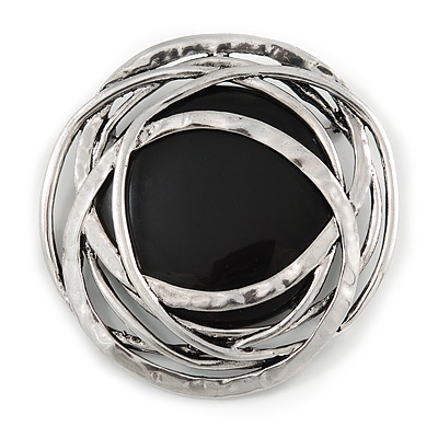 Large Ethnic Hammered 'Buckle' Brooch with Black Acrylic Disc - 70mm Diameter