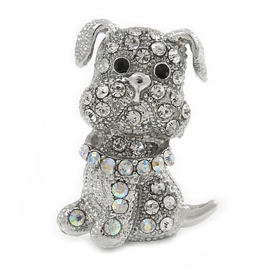 Small Clear/ Ab Crystal Bulldog Dog Brooch In Silver Tone - 30mm Tall