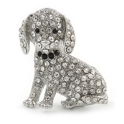 Crystal Puppy Dog Brooch In Silver Tone - 37mm Tall