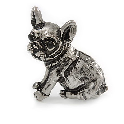 Adorable Baby French Bulldog Small Brooch In Pewter Tone Metal - 30mm Tall