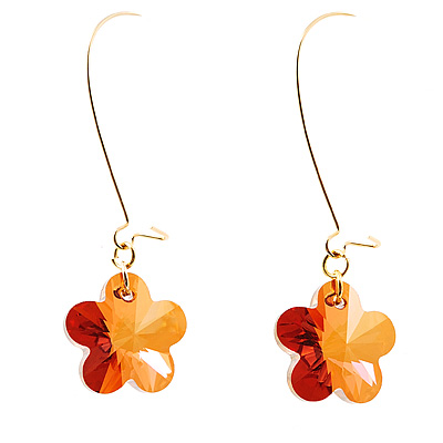 Amber Coloured Daisy Drop Earrings
