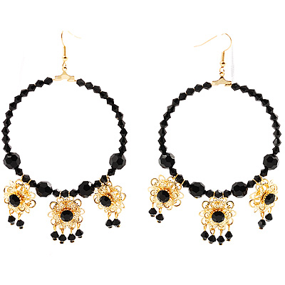 Jet-Black Beaded Costume Hoop Earrings