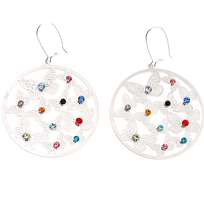Silver Butterfly Circle Earrings