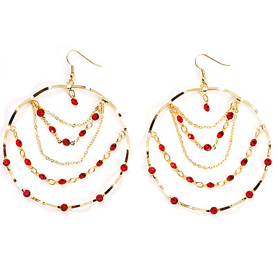 Gold Hot Red Serpentine Costume Hoop Earrings