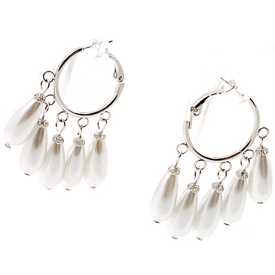 Ivory FauxTeardrop Hoop Earrings