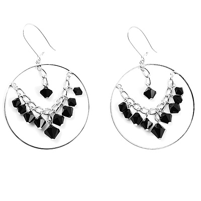 Silver Chain Jet-Black Beads Hoop Earrings
