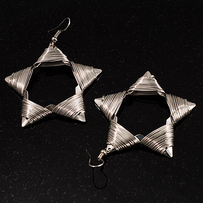 Silver-Plated Wired Drop Star Earrings