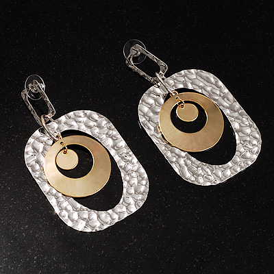 Two-Tone Modernistic Double Circular Loops Dangle Earring