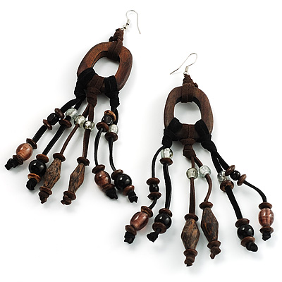 Long Wooden Clear Glass Bead Dangle Earrings
