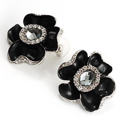 Black Floral Enamel Crystal Stud Earrings - main view