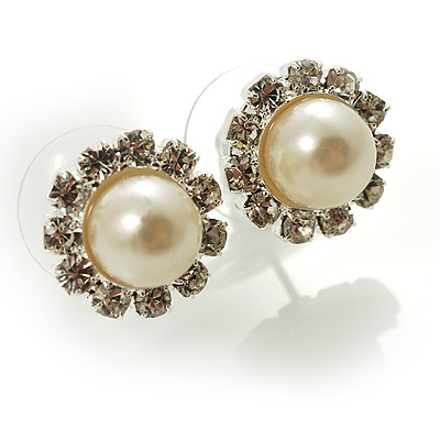 Snow-White Crystal Faux Pearl Stud Earrings