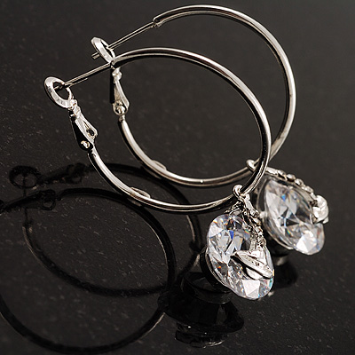 Silver Tone Hoop Earrings With Dangle CZ  Crystal (3cm Diameter)