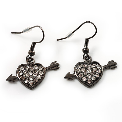 Black Tone Heart&Arrow Drop Fashion Earrrings