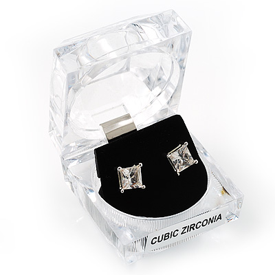 Brilliant-Cut Crystal Clear CZ Stud Earrings