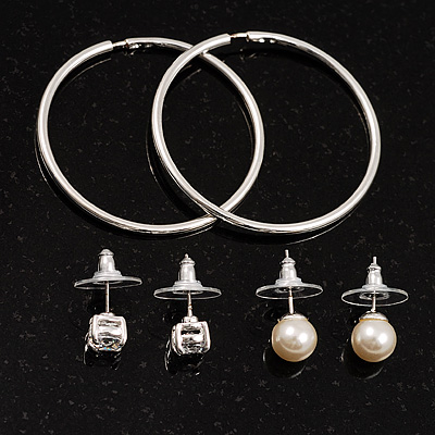 Silver-Tone Earring Set