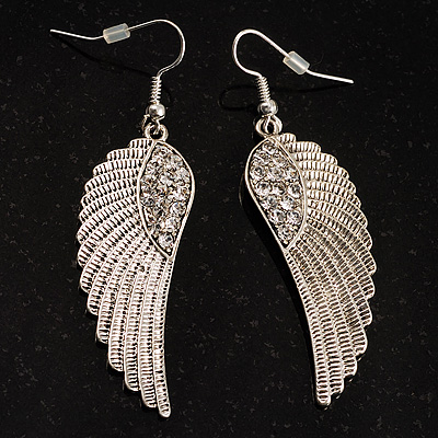 Silver Tone Crystal Wing Earrings