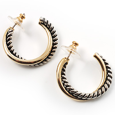 Two-Tone Hoop Earrings (Antique Silver&Gold)