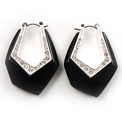 Black Plastic Crystal Hoop Earrings - main view