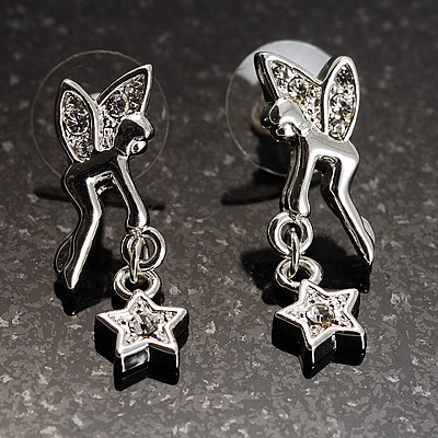 Crystal Fairy With A Dangling Star Stud Earrings (Silver Tone)