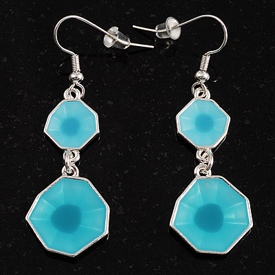 Turquoise Coloured Glass Square Drop Earrings