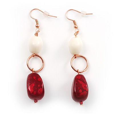 Fancy Bead Drop Earrings (Red&amp;White)
