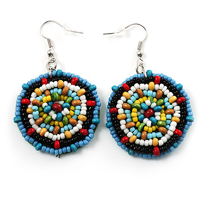 Boho Multicoloured Bead Drop Earrings