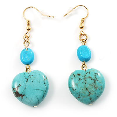 Turquoise Style Drop Heart Earrings