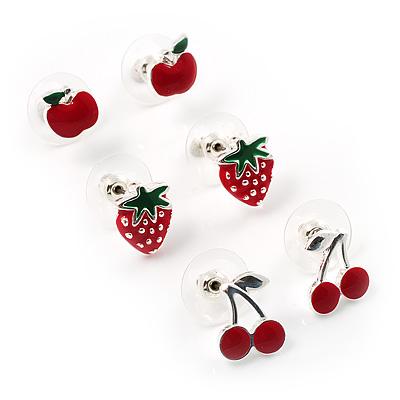 Silver-Tone Fruity Stud Earring Set (Apple, Strawberry & Cherry)