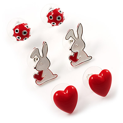 Silver-Tone Heart, Lady Bug &amp; Bunny Stud Earring Set
