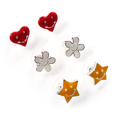 Silver-Tone Heart, Daisy & Star Stud Earring Set - main view