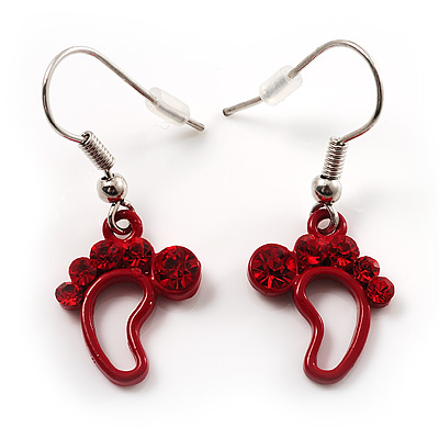 Red Diamante Feet Drop Earrings