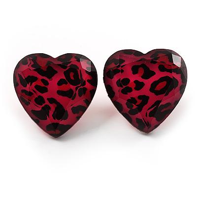 Animal Print Plastic Heart Stud Earrings (Pink&Black) - main view