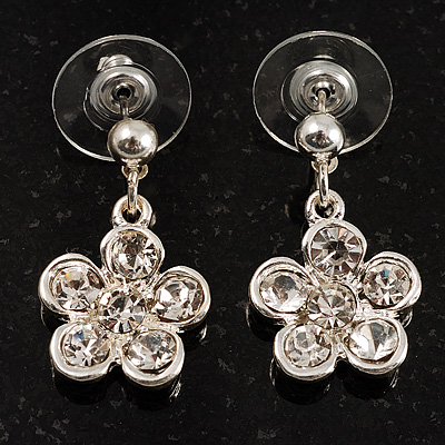 Small Crystal Flower Drop Earrings