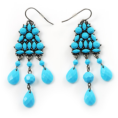 Turquoise Style Plastic Chandelier Earrings