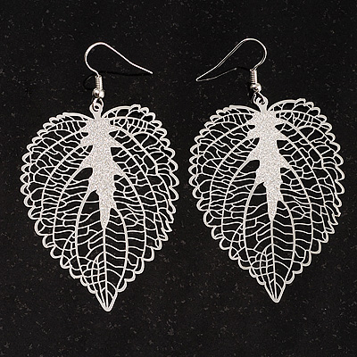 Silver Tone Filigree Leaf Drop Earrings - main view