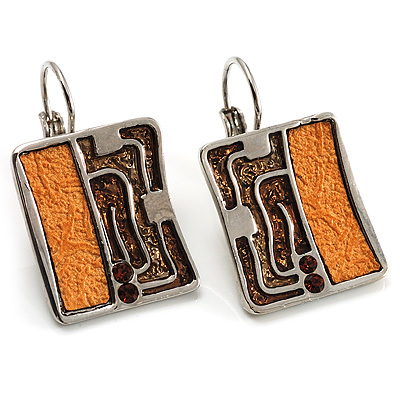 Silver Tone Square-Shaped Drop Earrings (Brown&Yellow)