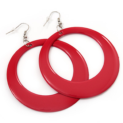 Large Raspberry Pink Enamel Hoop Drop Earrings (Silver Metal Finish) - 6.5cm Diameter