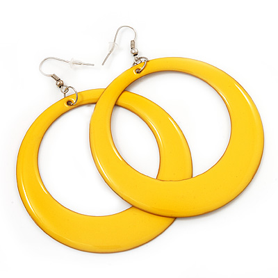 Large Bright Yellow Enamel Hoop Drop Earrings (Silver Metal Finish) - 6.5cm Diameter - main view