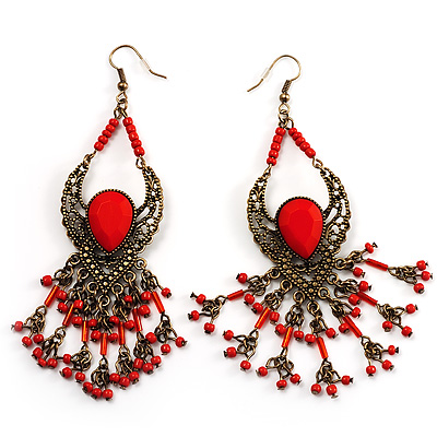 Bright Red Bead Chandelier Earrings (Antique Bronze)
